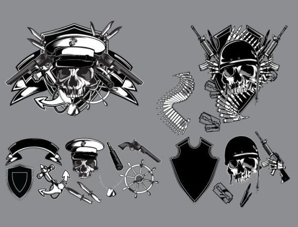 Skull vector pack 14 products pirate knife skull 14 prewiev