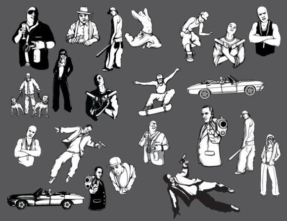 Gangsters vector pack 1 People urban