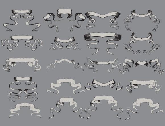 Scrolls vector pack 3 products scroll ribbon 3 prewiev