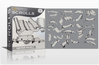 Scrolls vector pack 5 Scrolls ribbon