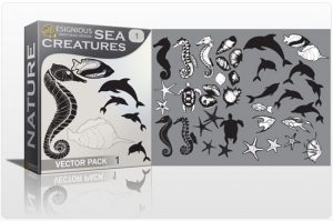 Sea creatures vector pack Nature ocean