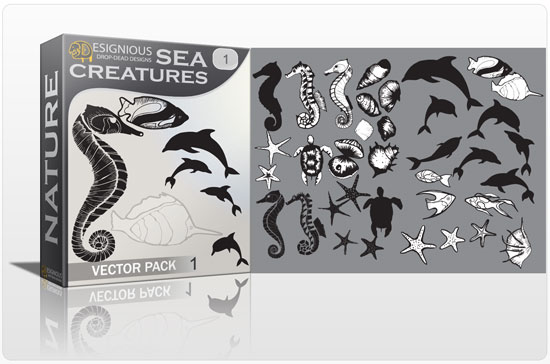 Sea creatures vector pack products sea creatures