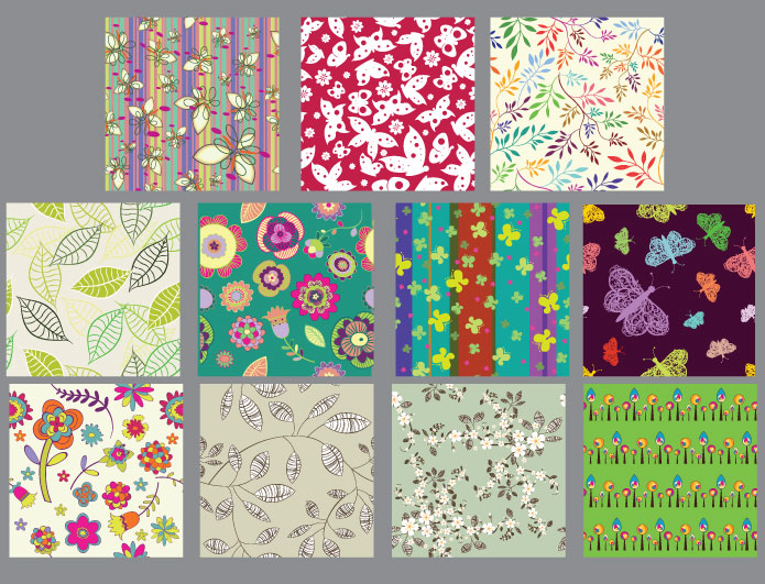 Seamless patterns vector pack 16 Patterns leaf