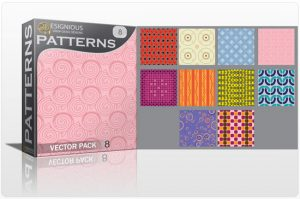 Seamless Patterns vector pack 8 Patterns retro