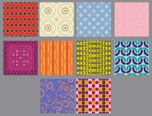 Seamless Patterns vector pack 8 Vector Patterns retro