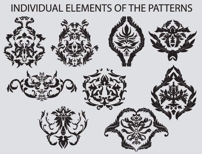 Seamless Patterns vector pack 3 Patterns victorian