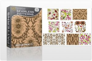 Seamless Patterns vector pack 5 Patterns floral