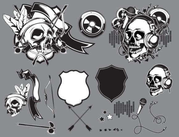 Skull vector pack 15 Skulls ribbon