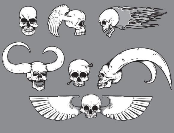 Skulls vector pack 11 products skull emblem 11