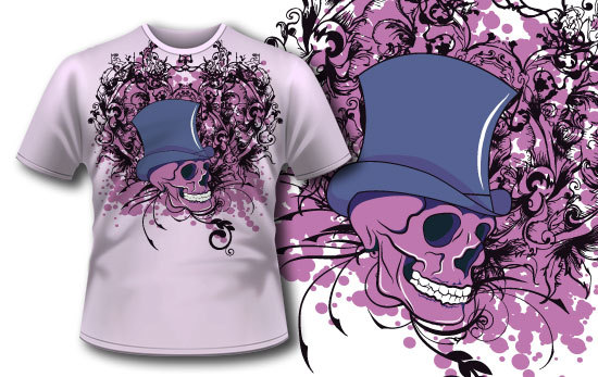T-shirt design 76 products skull with hat tee 76