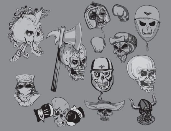 Skulls vector pack 4 products skulls 4 prewiev