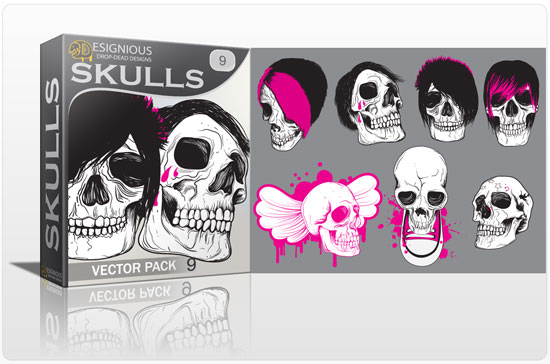 Skulls vector pack 9 products skulls boy kid 9