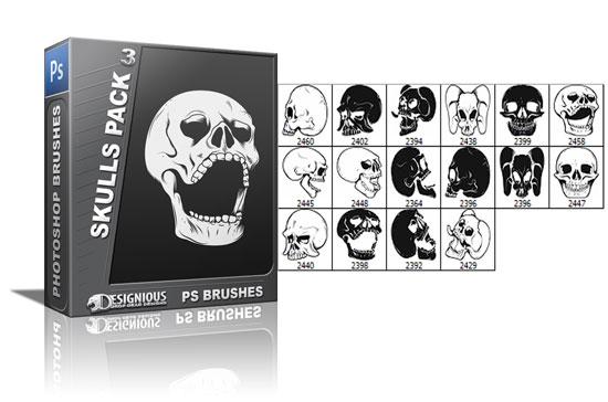 Skulls brushes pack 3 products skulls brush 3