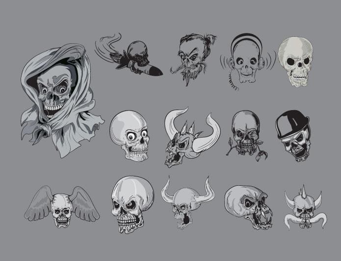 Skulls vector pack 3 Skulls bones