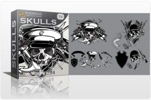 Skull vector pack 14 Skulls ribbon