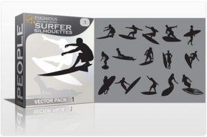 Surfer vector pack People sea