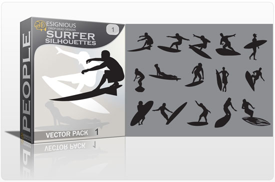 Surfer vector pack People sea