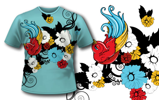 T-shirt design 60 products tattoo bird shirt 60