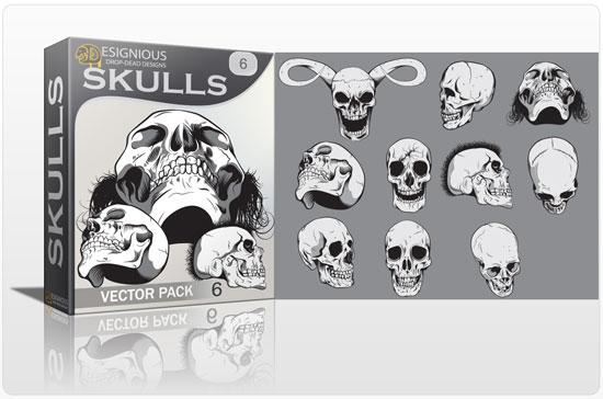 Skulls vector pack 6 Skulls bones