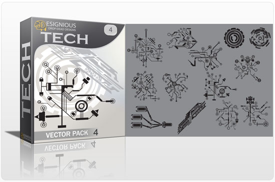 Tech shapes vector pack 4 products tech 4 circuit
