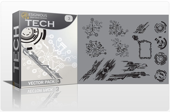 Tech shapes vector pack 3 products tech circuit board 3