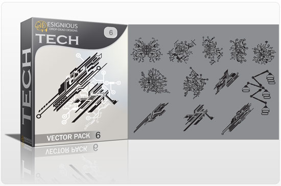 Tech shapes vector pack 6 products tech cpmputer 6