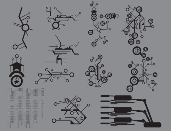 Tech shapes vector pack products tech digital circuit prewiev