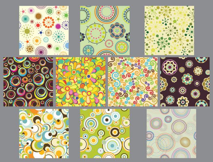 Seamless patterns vector pack 17 Patterns flower