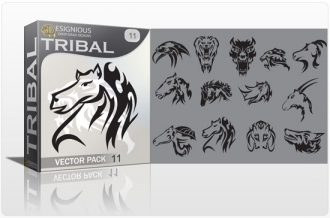 Tribal vector pack 11 animals Tribal vector