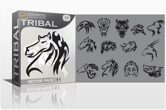 Tribal vector pack 11 animals products tribal animals 11