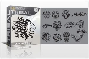 Tribal vector pack 9 animals Tribal vector