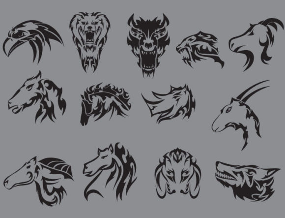 Tribal vector pack 11 animals products tribal horse 11 prewiev