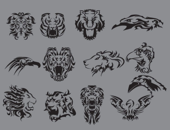 Tribal vector pack 9 animals 2