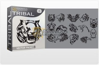 Tribal vector pack 8 animals Tribal vector
