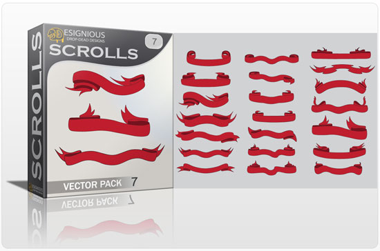 Scrolls vector pack 7 products vector ribbons scrolls7