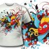 T-shirt design 63 products vintage bird design 64