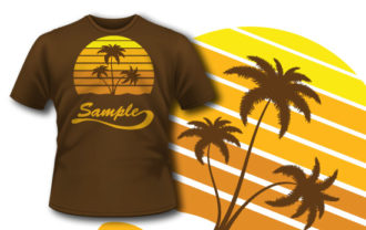 T-shirt design 159 tropical sunrise T-shirt Designs and Templates 8