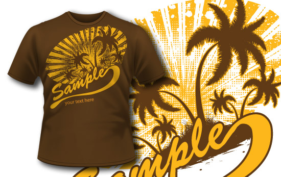 T-shirt design 160 palm tree sun rays T-shirt designs and templates the