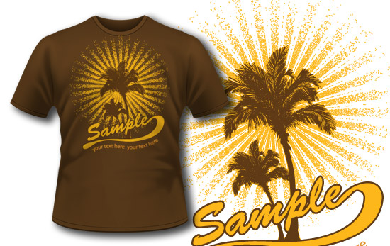 T-shirt design 162 tropical hot day T-shirt Designs and Templates wave