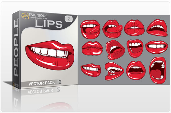 Lips vector pack 2 People pearl
