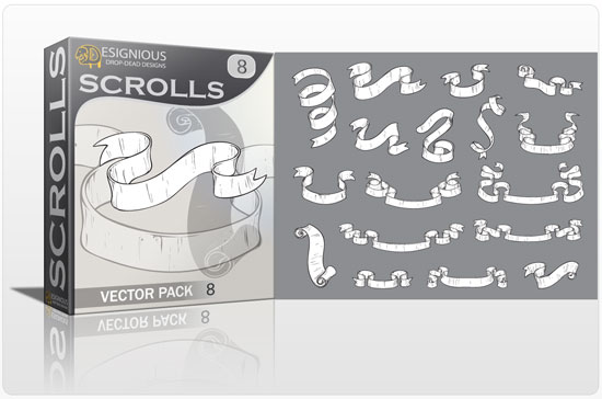 Scrolls vector pack 8 products scrolls 8