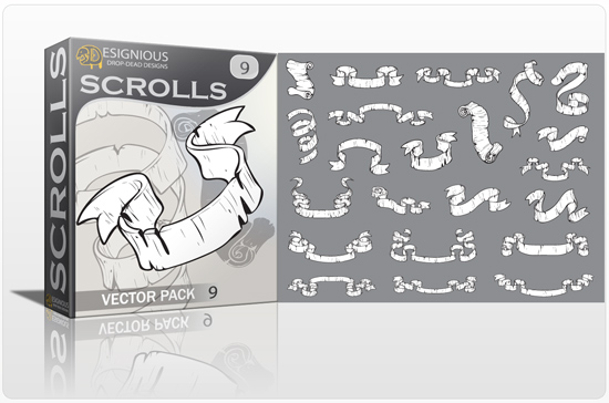 Scrolls vector pack 9 products scrolls 9