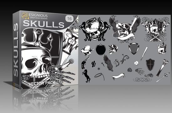 Skulls vector pack 16 Skulls ball