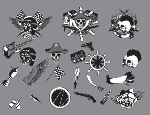 Skulls vector pack 17 products skulls172