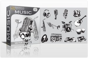 Music vector pack 5 Music mic