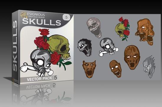 Skulls vector pack 5 Skulls bones
