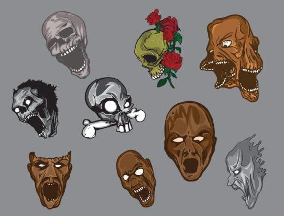Skulls vector pack 5 6