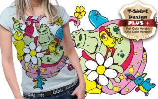 T-shirt design plus 3 T-shirt designs and templates kids