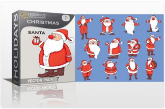 Christmas vector pack 7 santa Holidays winter