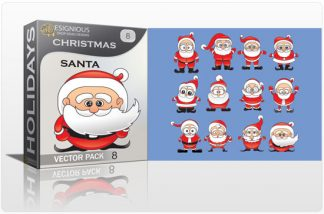 Christmas vector pack 8 santa Holidays winter
